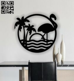 Flamingo wall decor E0013328 file cdr and dxf free vector download for laser cut plasma