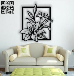 Floral flower wall art E0013412 file cdr and dxf free vector download for laser cut plasma