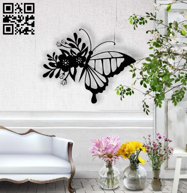 Flower Butterfly E001366 file cdr and dxf free vector download for laser cut plasma