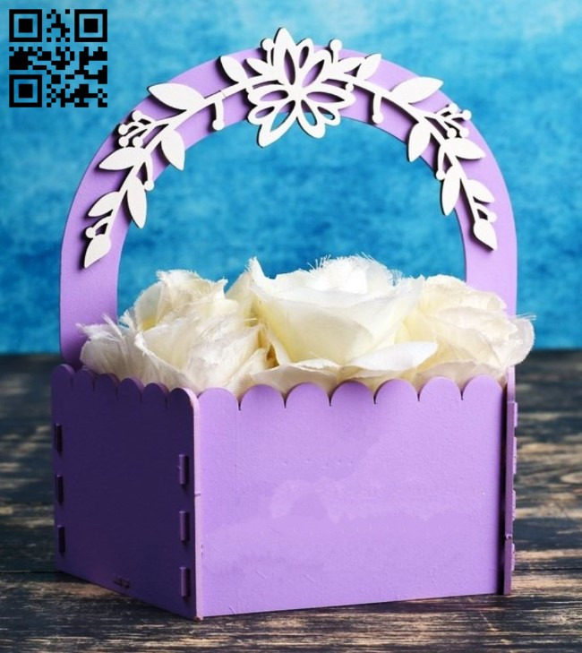 Flower basket E0013204 file cdr and dxf free vector download for laser cut