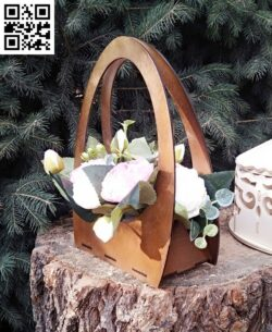 Flower basket E0013290 file cdr and dxf free vector download for laser cut