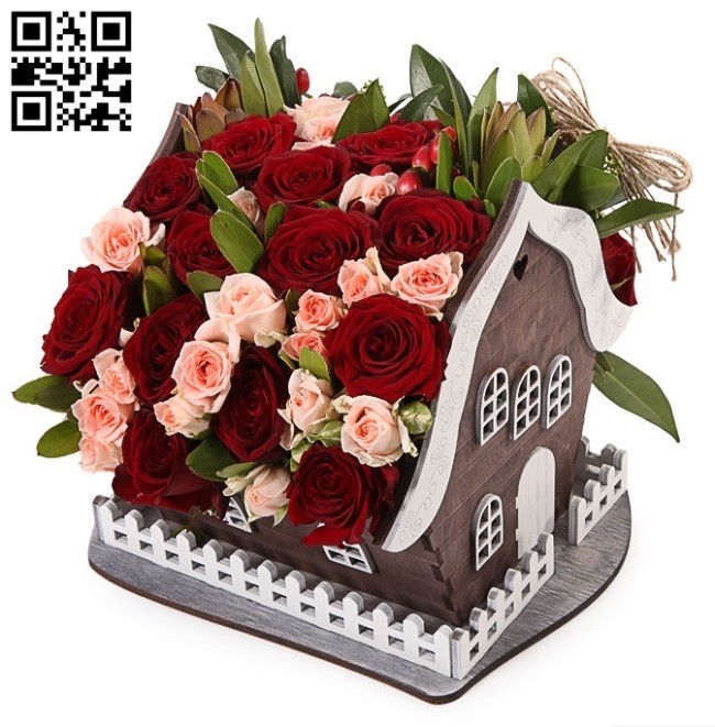 Flower house E0013205 file cdr and dxf free vector download for laser cut
