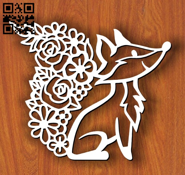Fox with flower wall decor E0013394 file cdr and dxf free vector download for laser cut plasma