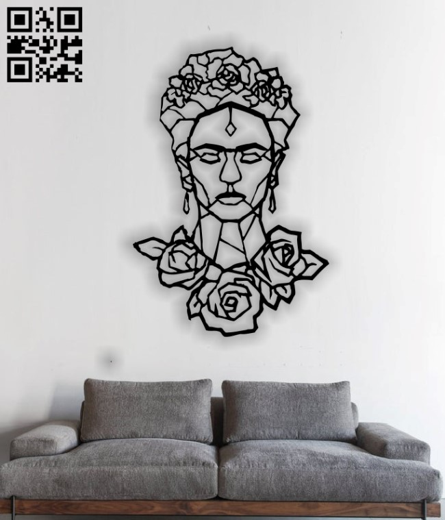 Frida Kahlo wall art E0013421 file cdr and dxf free vector download for laser cut plasma