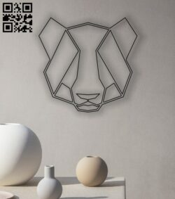 Geometric Panda head E0013497 file cdr and dxf free vector download for laser cut plasma
