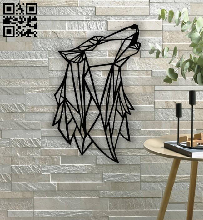 Geometric Wolf E0013429 file cdr and dxf free vector download for laser cut plasma