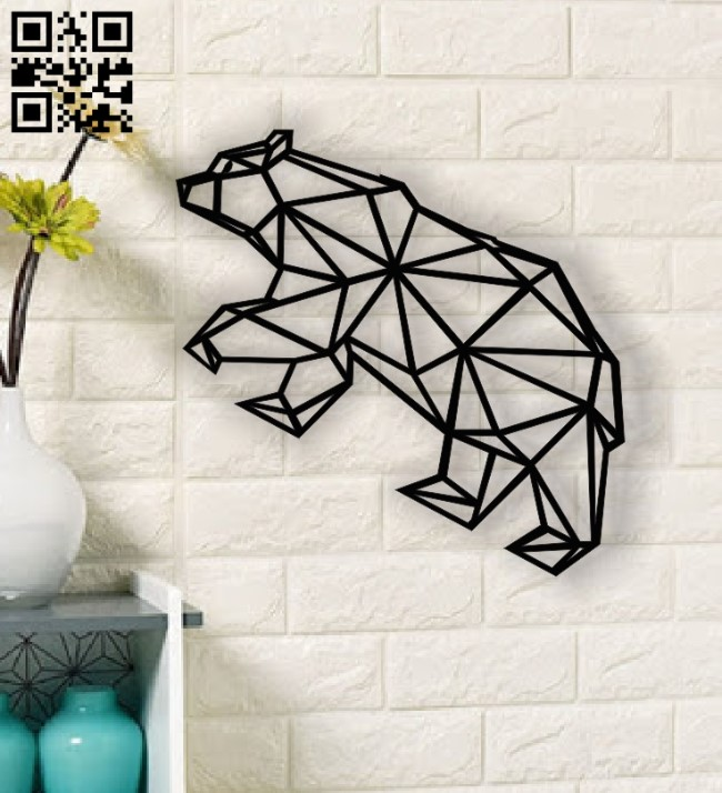 Geometric bear E0013448 file cdr and dxf free vector download for laser cut plasma
