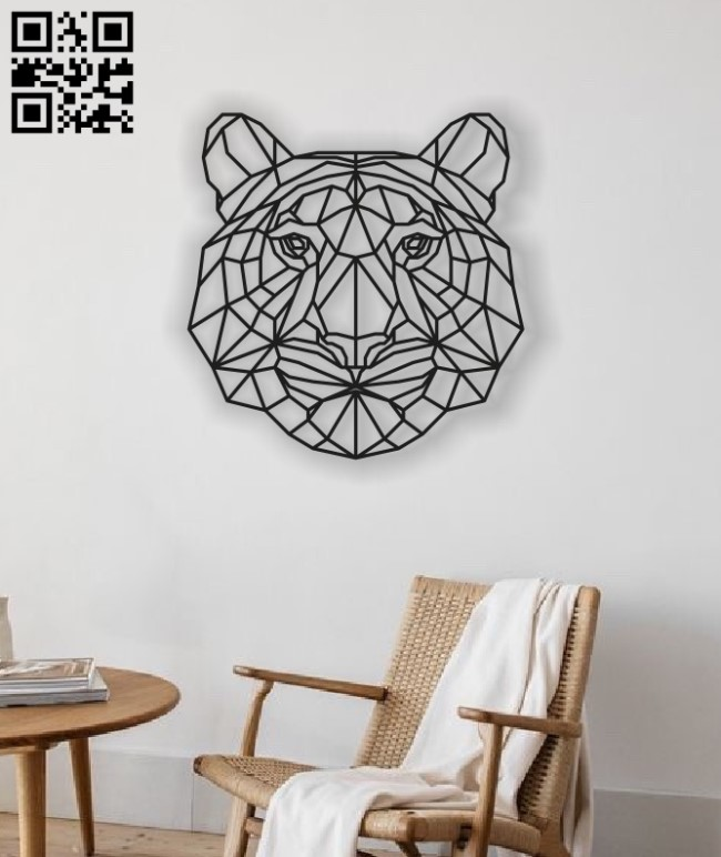 Geometric tiger E0013426 file cdr and dxf free vector download for laser cut plasma