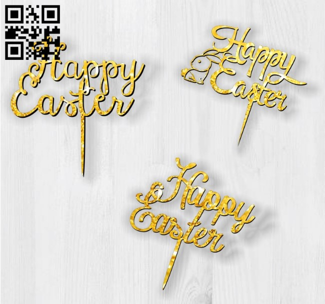 Happy Easter topper E0013476 file cdr and dxf free vector download for laser cut plasma