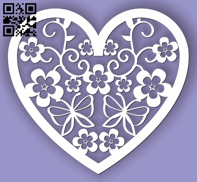 Heart E0013317 file cdr and dxf free vector download for laser cut