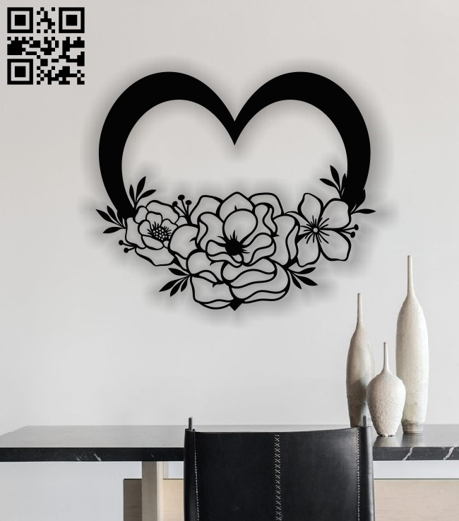 Heart and flower E0013487 file cdr and dxf free vector download for laser cut plasma