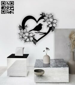 Heart bird and flower E0013486 file cdr and dxf free vector download for laser cut plasma