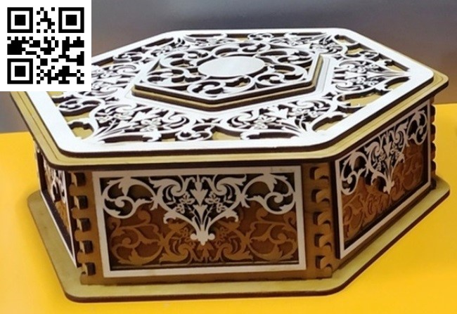 Hexagon box E0013258 file cdr and dxf free vector download for laser cut