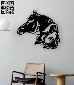 Horse wall decor E0013435 file cdr and dxf free vector download for laser cut plasma