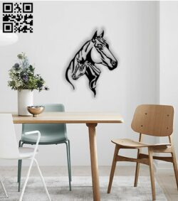 Horse wall decor E0013489 file cdr and dxf free vector download for laser cut plasma