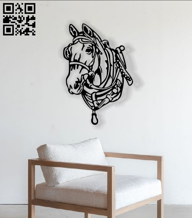 Horse wall decor E0013490 file cdr and dxf free vector download for laser cut plasma