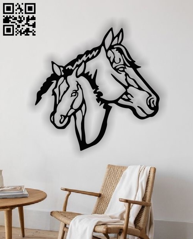 Horse wall decor E0013491 file cdr and dxf free vector download for laser cut plasma