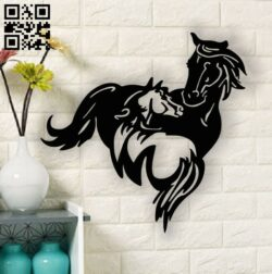 Horses wall art E0013438 file cdr and dxf free vector download for laser cut plasma