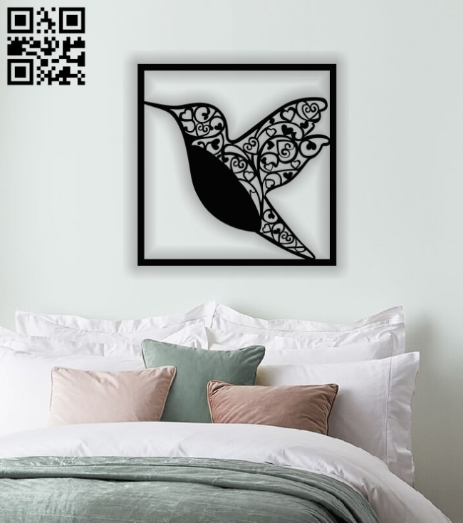 Hummingbird wall art E0013381 file cdr and dxf free vector download for laser cut plasma
