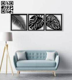 Leaf wall art E0013432 file cdr and dxf free vector download for laser cut plasma