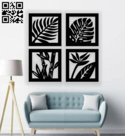 Leaf wall decor E0013327 file cdr and dxf free vector download for laser cut plasma