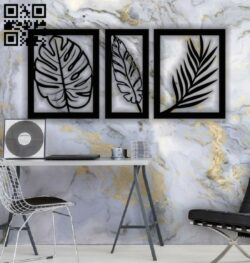 Leaf wall decor E0013330 file cdr and dxf free vector download for laser cut plasma