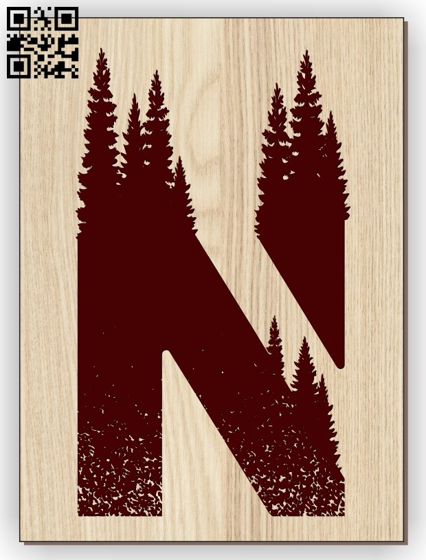 Letter N art E0013280 file cdr and dxf free vector download for laser engraving machines