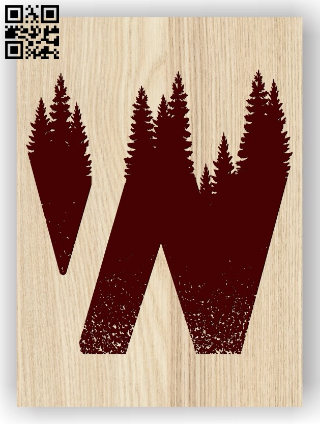 Letter W art E0013460 file cdr and dxf free vector download for laser engraving machine