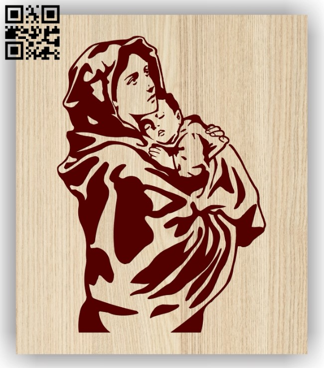 Mary and Jesus Christ E0013416 file cdr and dxf free vector download for laser engraving machine