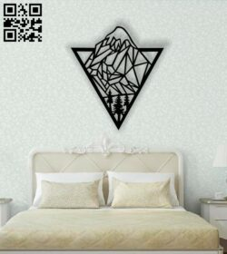 Mountain wall art E0013405 file cdr and dxf free vector download for laser cut plasma