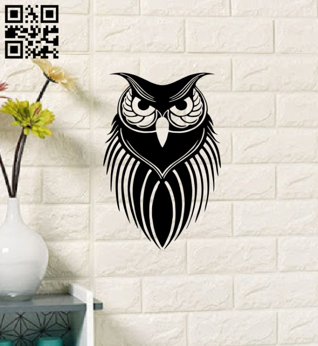 Owl wall art E0013480 file cdr and dxf free vector download for laser cut plasma