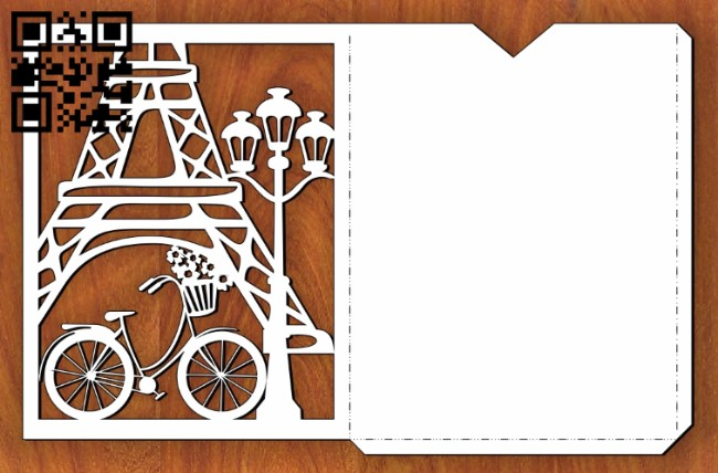 Paris card E0013450 file cdr and dxf free vector download for laser cut