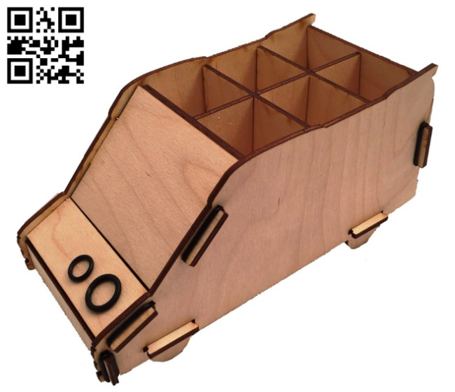 Pencil holder E0013353 file cdr and dxf free vector download for laser cut