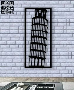 Pisa leaning tower E0013389 file cdr and dxf free vector download for laser cut plasma