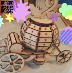Pumpkin carriage E0013493 file cdr and dxf free vector download for laser cut