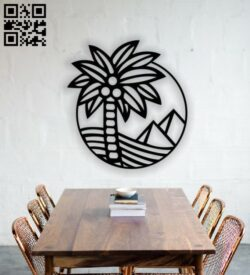 Pyramid with palm tree wall decor E0013333 file cdr and dxf free vector download for laser cut plasma