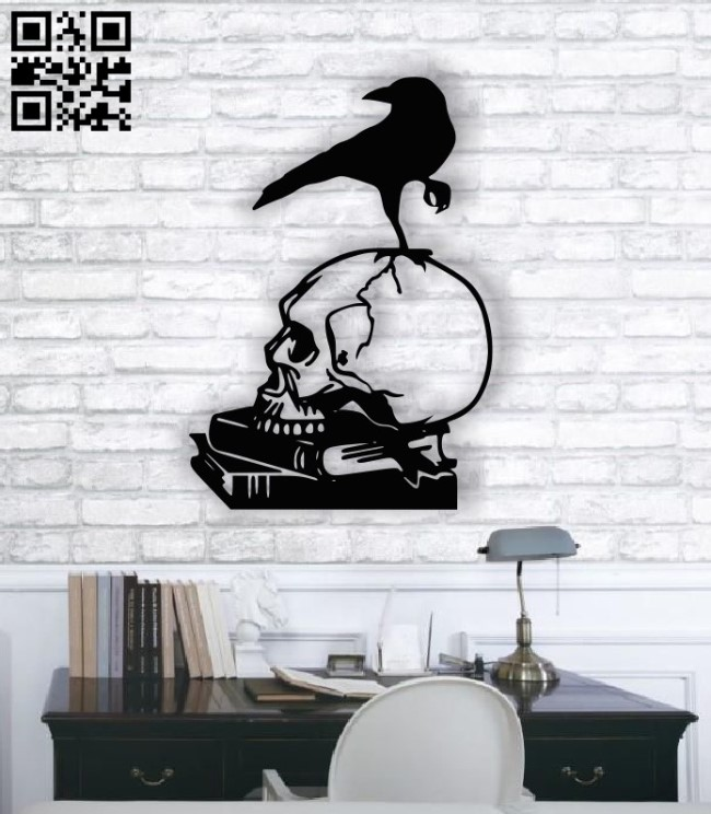 Raven skull E001363 file cdr and dxf free vector download for laser cut plasma
