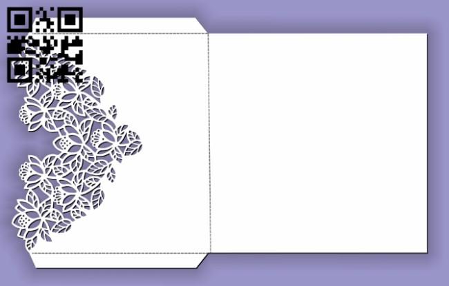 Rectangular flower envelope E0013478 file cdr and dxf free vector download for laser cut