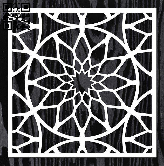 Square decoration E0013344 file cdr and dxf free vector download for laser cut