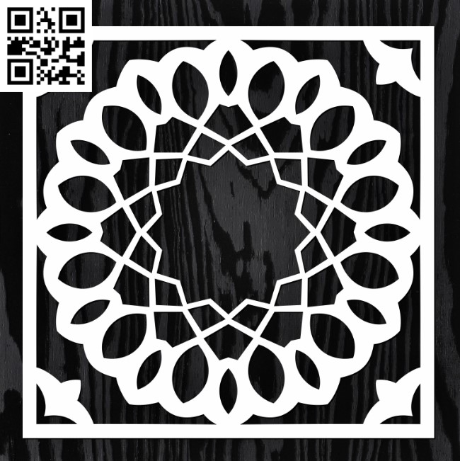 Square decoration E0013345 file cdr and dxf free vector download for laser cut