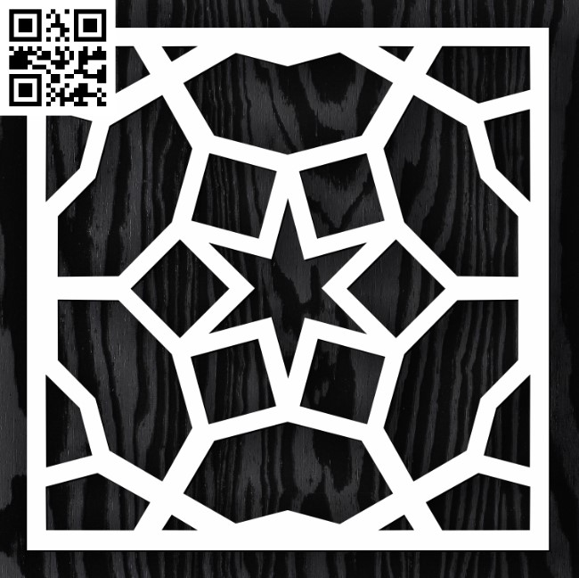 Square decoration E0013350 file cdr and dxf free vector download for laser cut