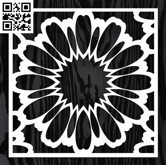 Square decoration E0013351 file cdr and dxf free vector download for laser cut