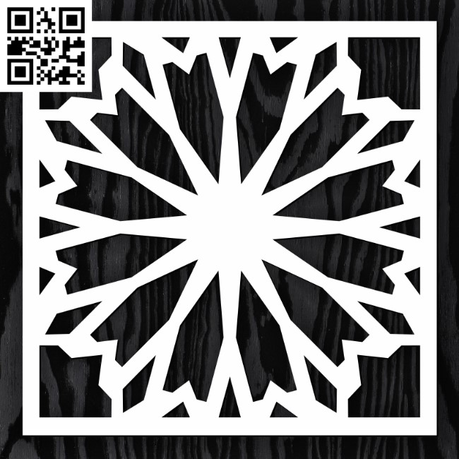 Square decoration E0013352 file cdr and dxf free vector download for laser cut