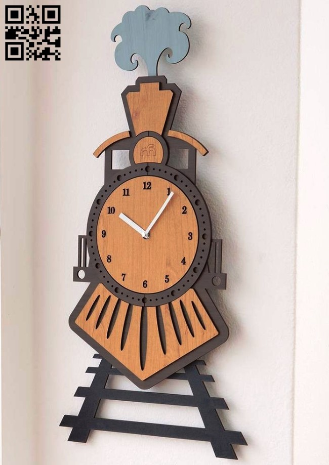 Train clock E0013292 file cdr and dxf free vector download for laser cut