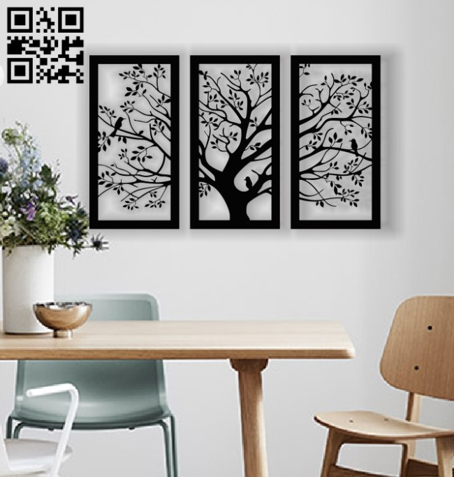 Tree wall decor E0013332 file cdr and dxf free vector download for laser cut plasma