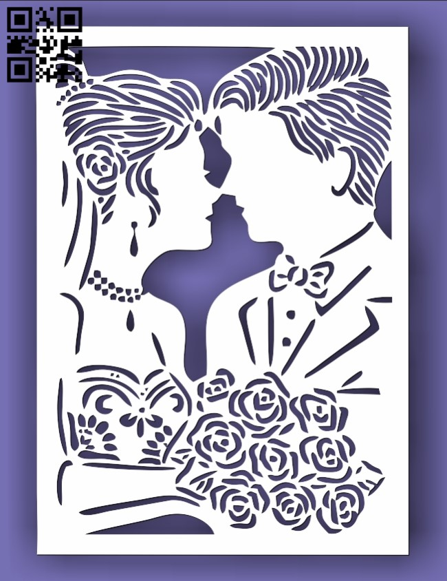 Wedding invitation E0013479 file cdr and dxf free vector download for laser cut