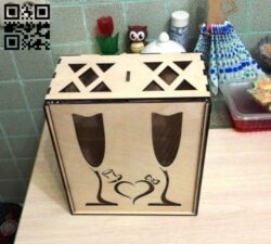 Wine box E0013319 file cdr and dxf free vector download for laser cut