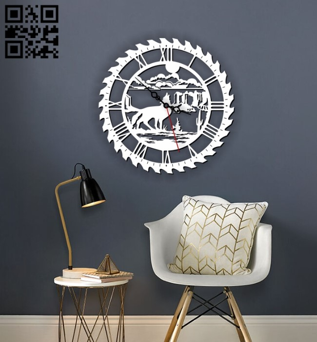 Wolf wall clock E0013381 file cdr and dxf free vector download for laser cut