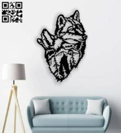 Wolf wall decor E0013391 file cdr and dxf free vector download for laser cut plasma