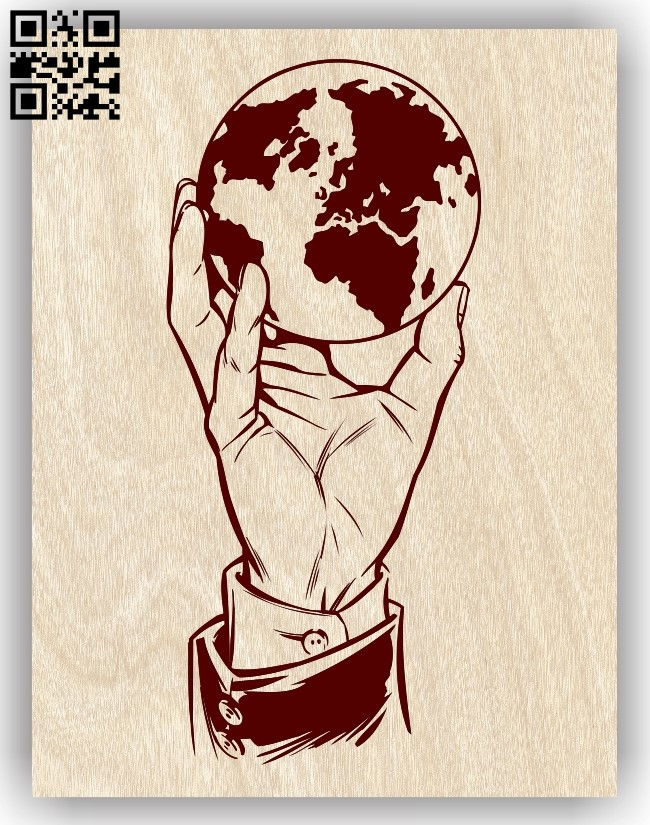 World in hand E0013419 file cdr and dxf free vector download for laser engraving machine